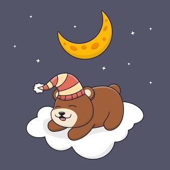 Schattige beer slapen op wolk onder de maan