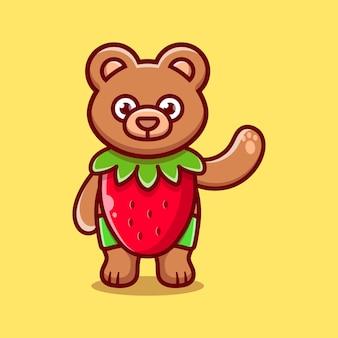 Schattige beer slijtage kostuum aardbei