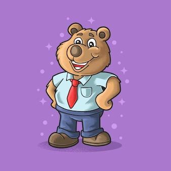 Schattige beer slijtage werknemer uniform illustratie grunge stijl