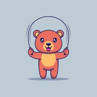 Schattige beer speelt springtouw