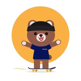 Schattige beer spelen skateboard cartoon afbeelding