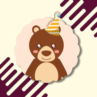 Schattige beer teddy feestmuts decoratie label