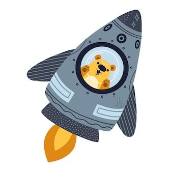 Schattige beer vliegt op een raket, cartoon afbeelding geïsoleerd op een witte achtergrond.