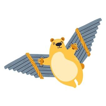 Schattige beer vliegt op handgemaakte houten vleugels, wingsuit, jetpack, deltavlieger, gelukkige illustratie geïsoleerd op een witte achtergrond.