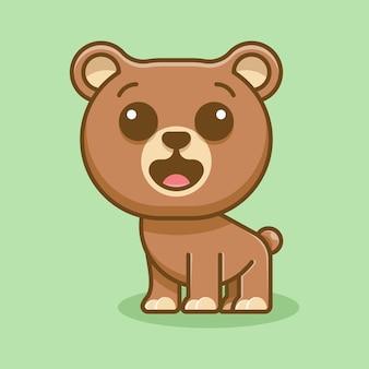 Schattige beer voor pictogram logo sticker en illustratie