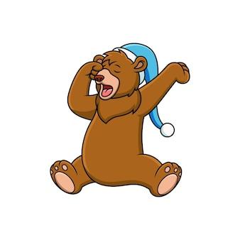 Schattige beer wordt wakker cartoon