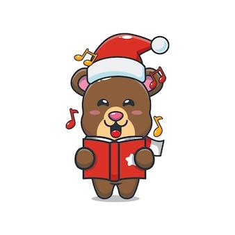 Schattige beer zingt een kerstliedje leuke kerst cartoon illustratie