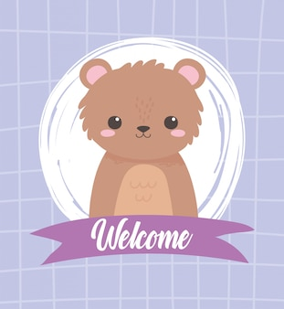 Schattige beer zittend dierlijk beeldverhaal welkom lint vectorillustratie