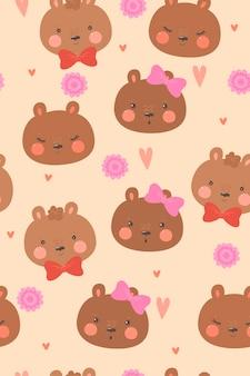 Schattige beren en harten naadloze patroon