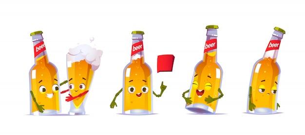 Schattige bierfles karakter in verschillende poses