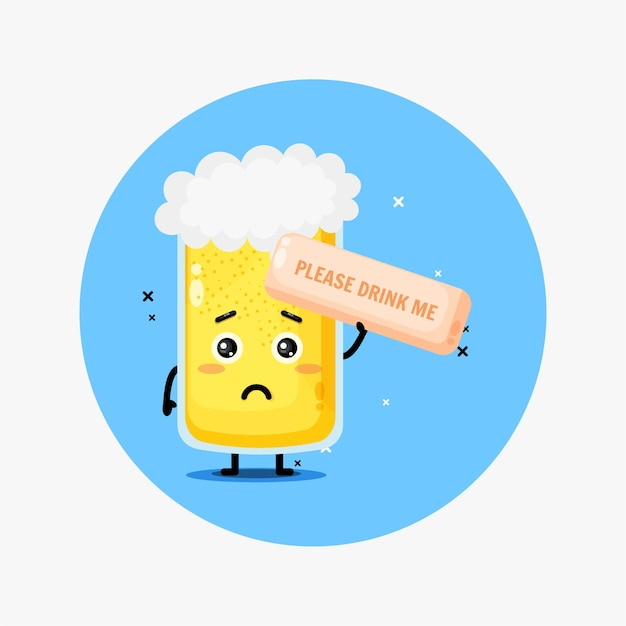 Schattige biermascotte. drink me alsjeblieft