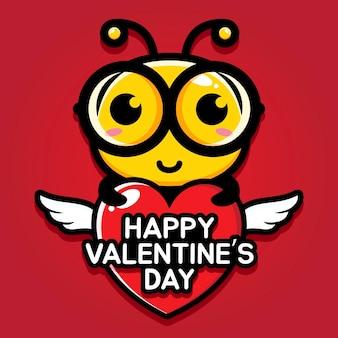 Schattige bij met gelukkige valentijnsdag groet