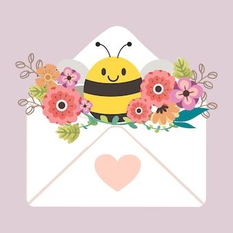 Schattige bij met kleurrijke bloemen in een envelop met een hart erop op een lichtpaarse achtergrond