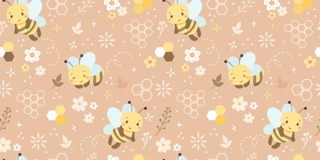 Schattige bijen naadloze patroon