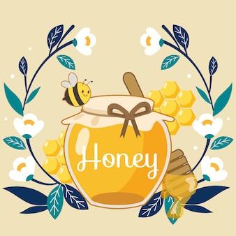Schattige bijen vliegen op een honingpot in een bloemenkrans