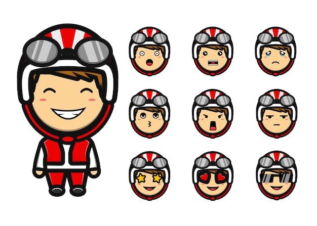 Schattige biker jongen mascotte tekenfilm set