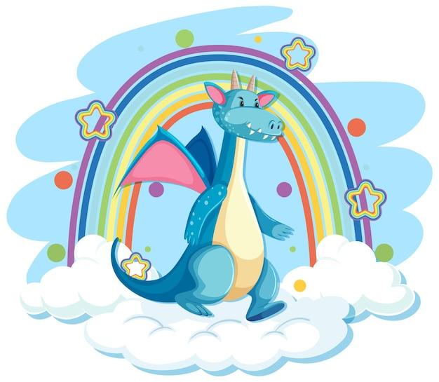 Schattige blauwe draak op de wolk met regenboog