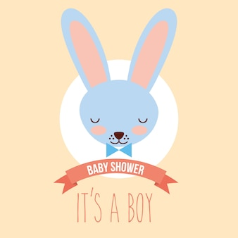 Schattige blauwe konijn gezicht het is een jongen uitnodigingskaart