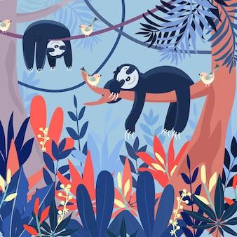 Schattige blauwe luiaard slapen in grote bos cartoon.