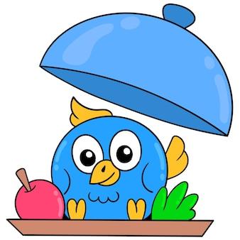 Schattige blauwe vogel is in het eten geserveerd, vector illustratie kunst. doodle pictogram afbeelding kawaii.