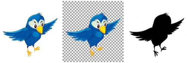 Schattige blauwe vogel stripfiguur