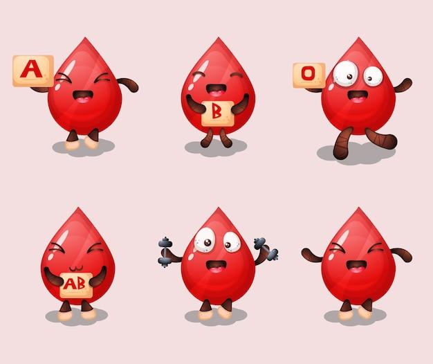 Schattige bloed cartoon set