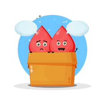 Schattige bloedmascotte in de doos. met een droevige en gelukkige uitdrukking