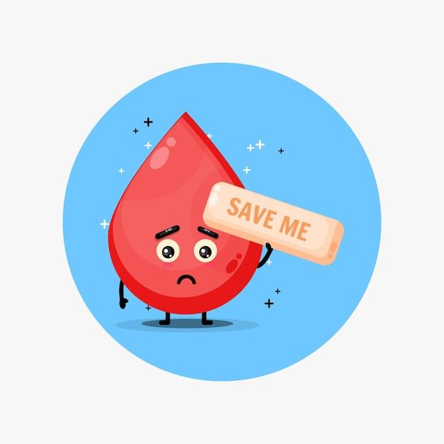 Schattige bloedmascotte smeekt om gered te worden