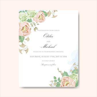 Schattige bloem voor bruiloft kaart