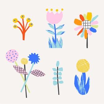 Schattige bloemen abstracte illustratie