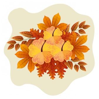 Schattige bloemen met herfstbladeren