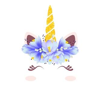 Schattige bloemeneenhoorn