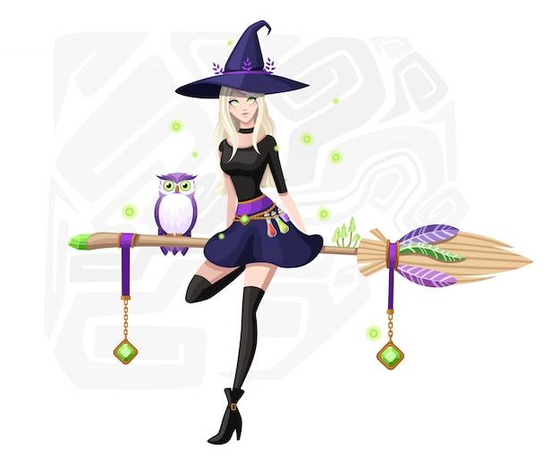 Schattige blonde heks zit op vliegende bezem. paarse uil op bezemsteel. heks paarse hoed en kleding. stripfiguur . mooie vrouwen. illustratie op achtergrond met vuurvliegjes