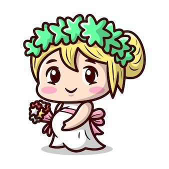 Schattige blonde zwangere vrouw draagt trouwjurk cartoon afbeelding van hoge kwaliteit