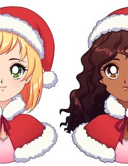Schattige blondie en mooie amerikaanse afrikaanse meisjes