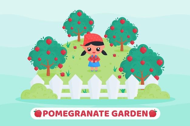 Schattige boer die fruit oogst in de cartoonillustratie van de granaatappeltuin