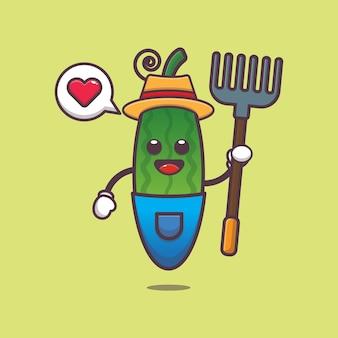 Schattige boer komkommer karakter illustratie