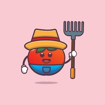 Schattige boer tomaat karakter illustratie