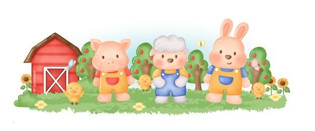 Schattige boerderijdier met konijn, schapen en varken cartoon.