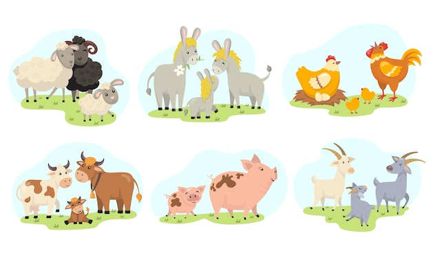 Schattige boerderijdieren familie vlakke afbeelding instellen. cartoon binnenlandse geit, schapen, kip, koe, varken, ezel geïsoleerde vector illustratie collectie. educatieve activiteit voor kinderen en peuters concept