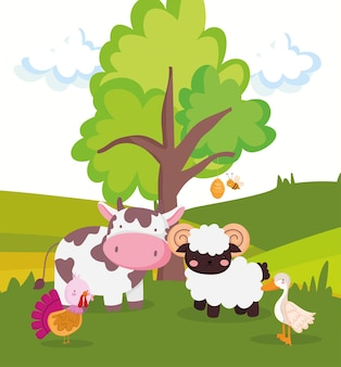 Schattige boerderijdieren