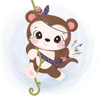 Schattige boho kleine aap illustratie