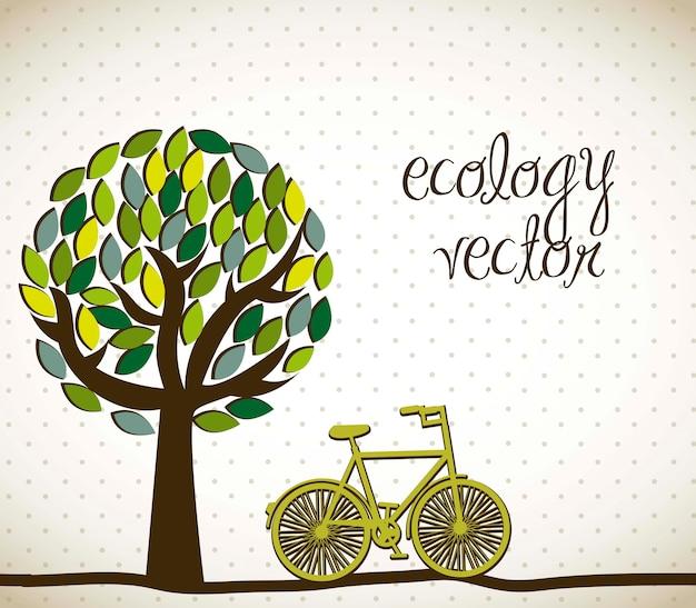 Schattige boom met fiets ecologie vectorillustratie