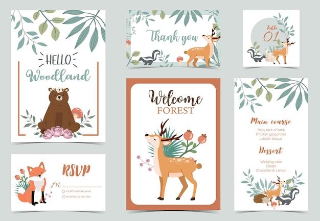 Schattige bos ansichtkaart met dieren