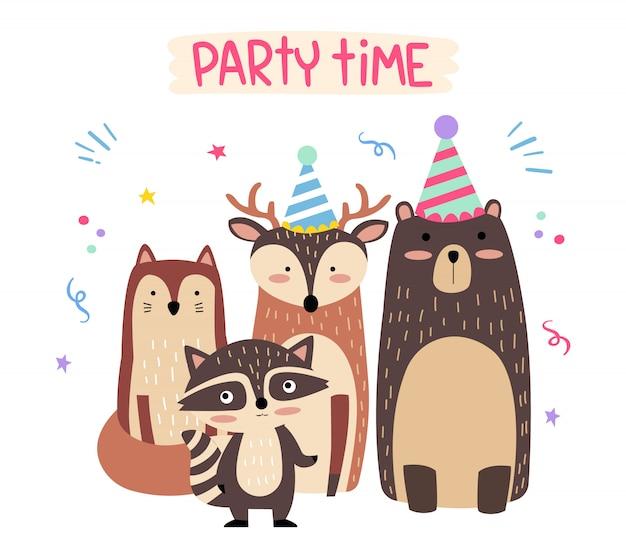 Schattige bos dieren verjaardagspartij
