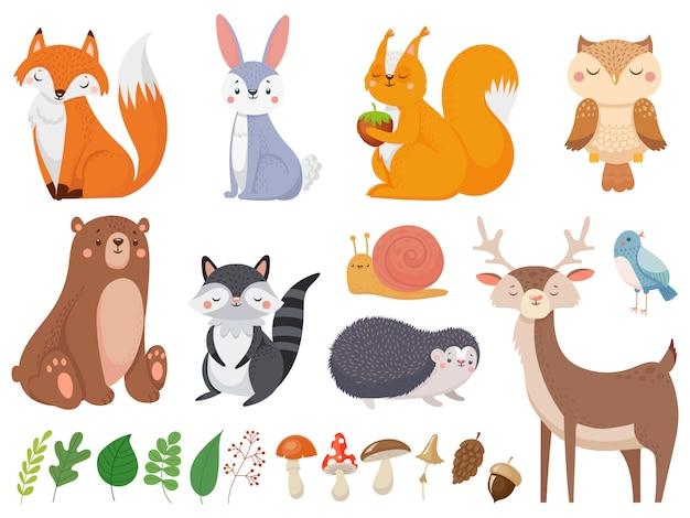 Schattige bosdieren. wilde dieren, bosflora en fauna-elementen geïsoleerde cartoon illustratie set