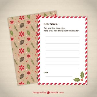 Schattige briefsjabloon naar santa