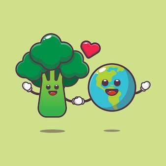 Schattige broccoli en aarde met liefde