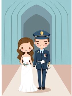 Schattige bruid en bruidegom in militair uniform stripfiguur