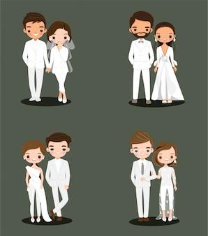 Schattige bruid en bruidegom paar in witte trouwjurk pak stripfiguur